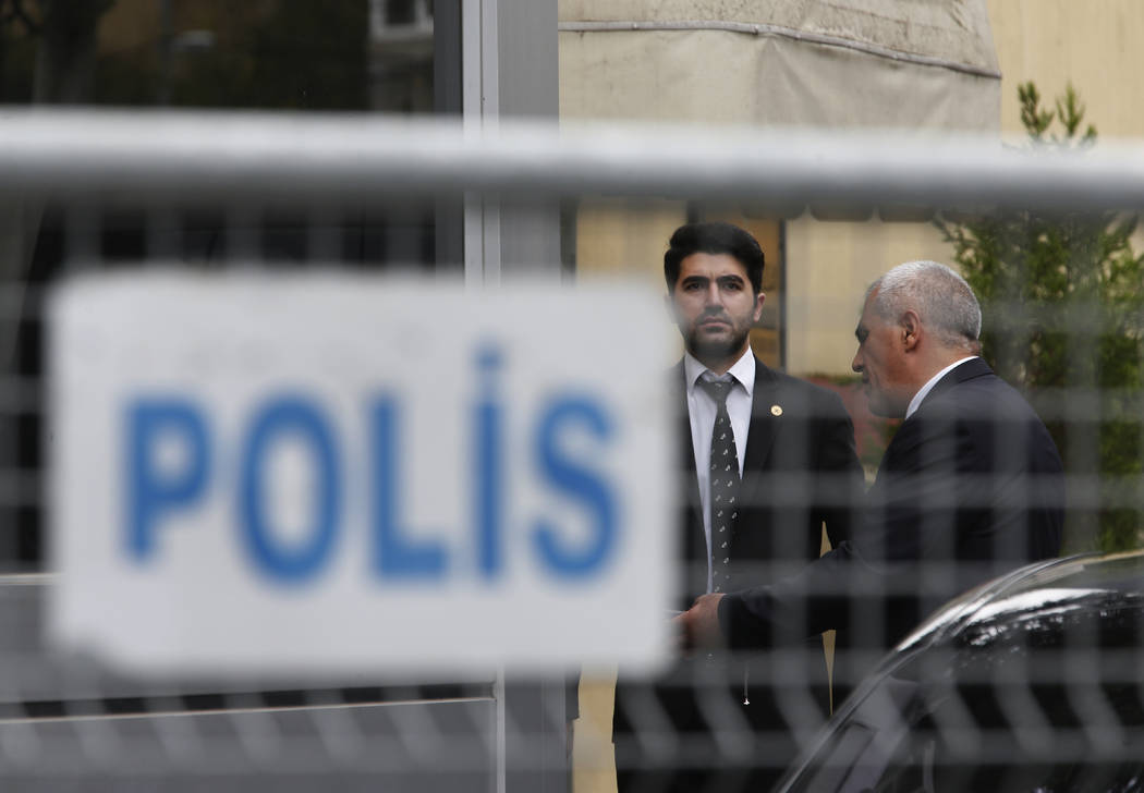 Security guards stand outside Saudi Arabia's consulate in Istanbul, Friday, Oct. 19, 2018. A Turkish official said Friday that investigators are looking into the possibility that the remains of mi ...