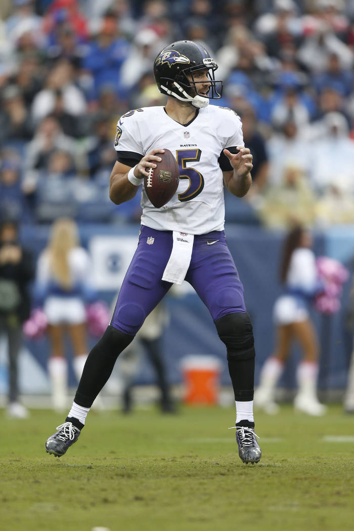 Baltimore Ravens quarterback Joe Flacco plays against the Tennessee Titans in the first half of an NFL football game Sunday, Oct. 14, 2018, in Nashville, Tenn. (AP Photo/Wade Payne)