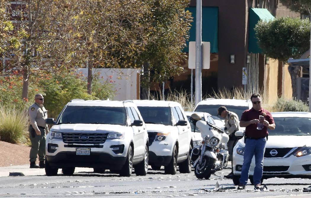 Las Vegas police investigate after a motorcyclist was killed in a crash on North Nellis Boulevard near Stewart Avenue on Thursday, Oct. 18 , 2018, in east Las Vegas. (Bizuayehu Tesfaye/Las Vegas R ...