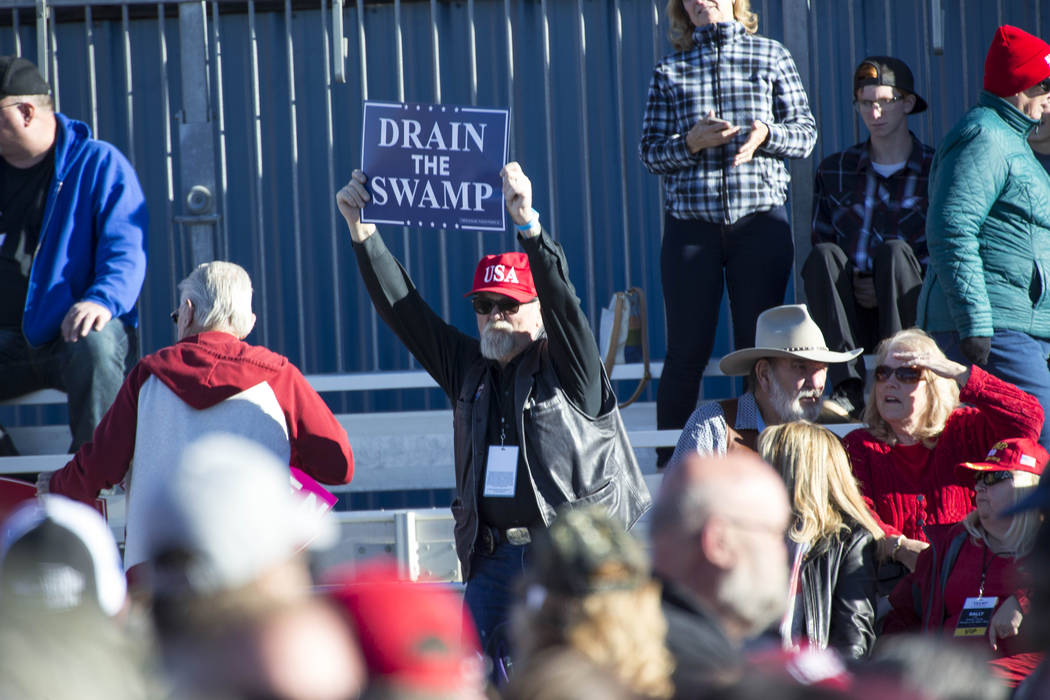 A Donald Trump supporter waives his sign during a Make America Great Again Rally in Elko, Nevada on Saturday, Oct. 20, 2018. Richard Brian Las Vegas Review-Journal @vegasphotograph