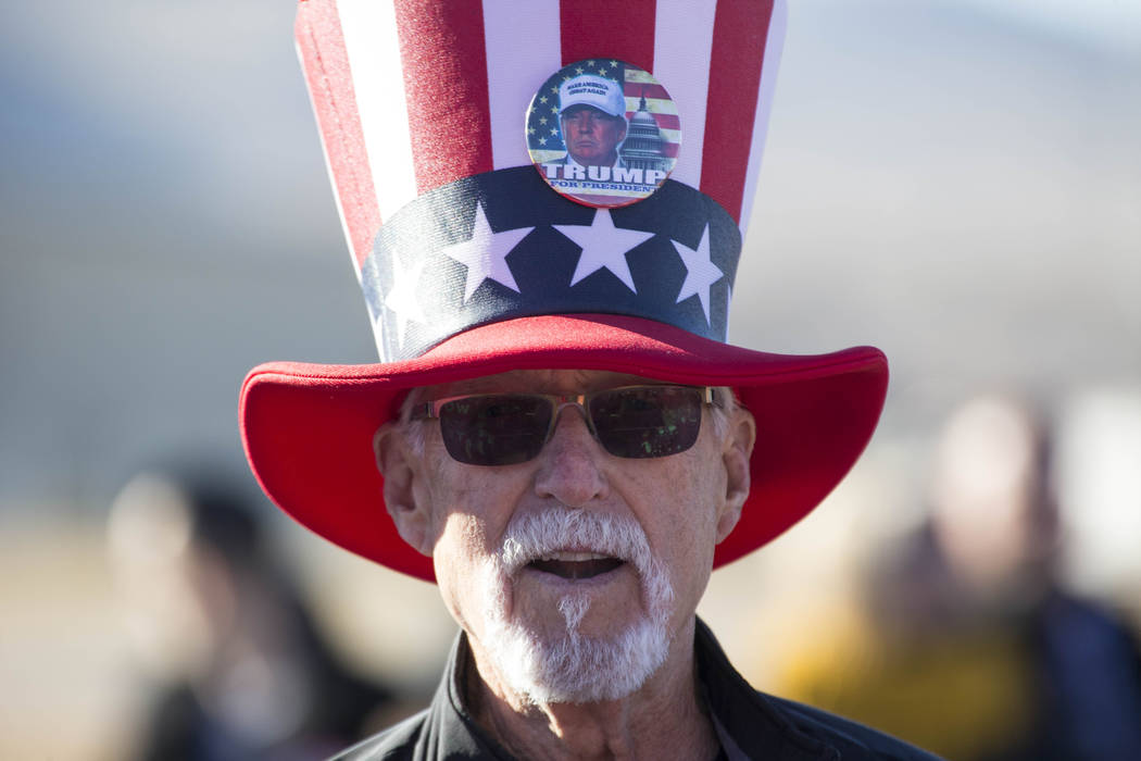 Fred McBryde of Minden, Nevada waits for President Donald Trump to arrive during a Make America Great Again Rally in Elko, Nevada on Saturday, Oct. 20, 2018. Richard Brian Las Vegas Review-Journal ...