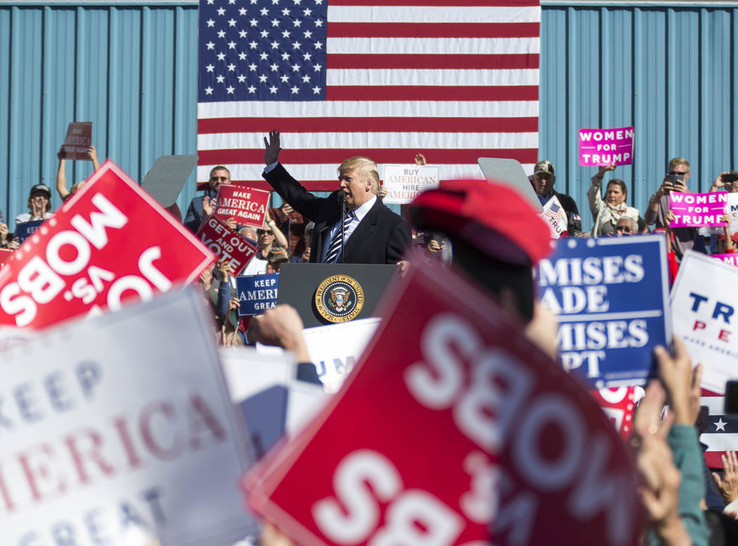 President Donald Trump speaks during a Make America Great Again Rally in Elko, Nevada on Saturday, Oct. 20, 2018. Richard Brian Las Vegas Review-Journal @vegasphotograph