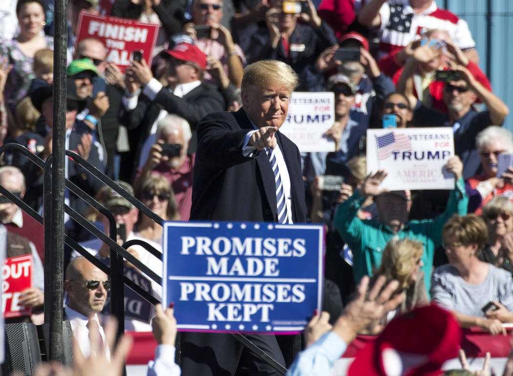 President Donald Trump waives to the crowd following a Make America Great Again Rally in Elko, Nevada on Saturday, Oct. 20, 2018. Richard Brian Las Vegas Review-Journal @vegasphotograph