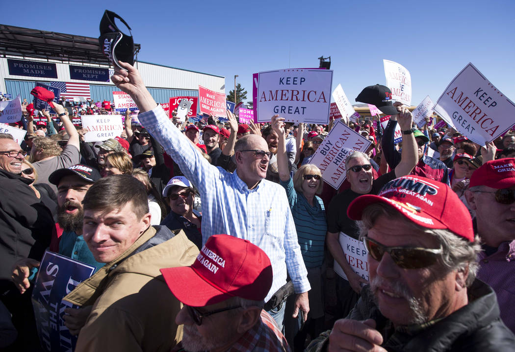 Supporters of President Donald Trump yell towards members of the media during a Make America Great Again Rally in Elko, Nevada on Saturday, Oct. 20, 2018. Richard Brian Las Vegas Review-Journal @v ...