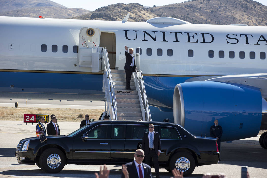 President Donald Trump boards Air Force One after a Make America Great Again Rally in Elko, Nevada on Saturday, Oct. 20, 2018. Richard Brian Las Vegas Review-Journal @vegasphotograph