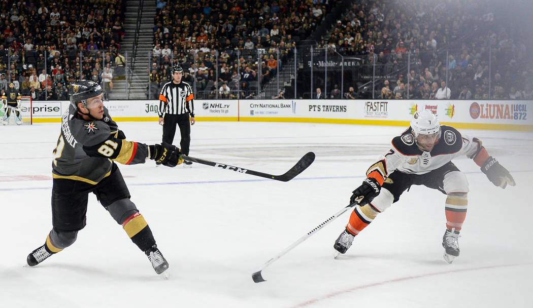 Vegas Golden Knights center Jonathan Marchessault (81) takes a shot during the first period of an NHL hockey game at T-Mobile Arena in Las Vegas, Saturday, Oct. 20, 2018. Caroline Brehman/Las Vega ...