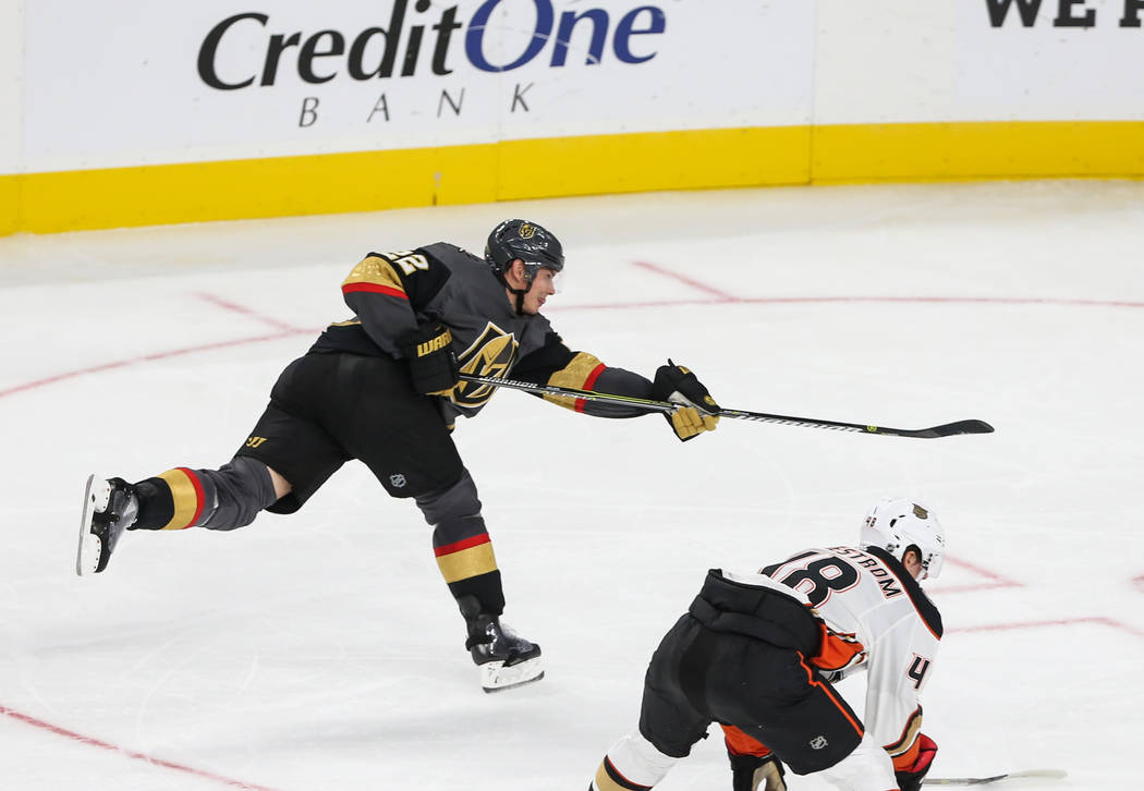 Vegas Golden Knights defenseman Nick Holden (22) takes a shot on goal against the Anaheim Ducks during the second period of an NHL hockey game at T-Mobile Arena in Las Vegas, Saturday, Oct. 20, 20 ...