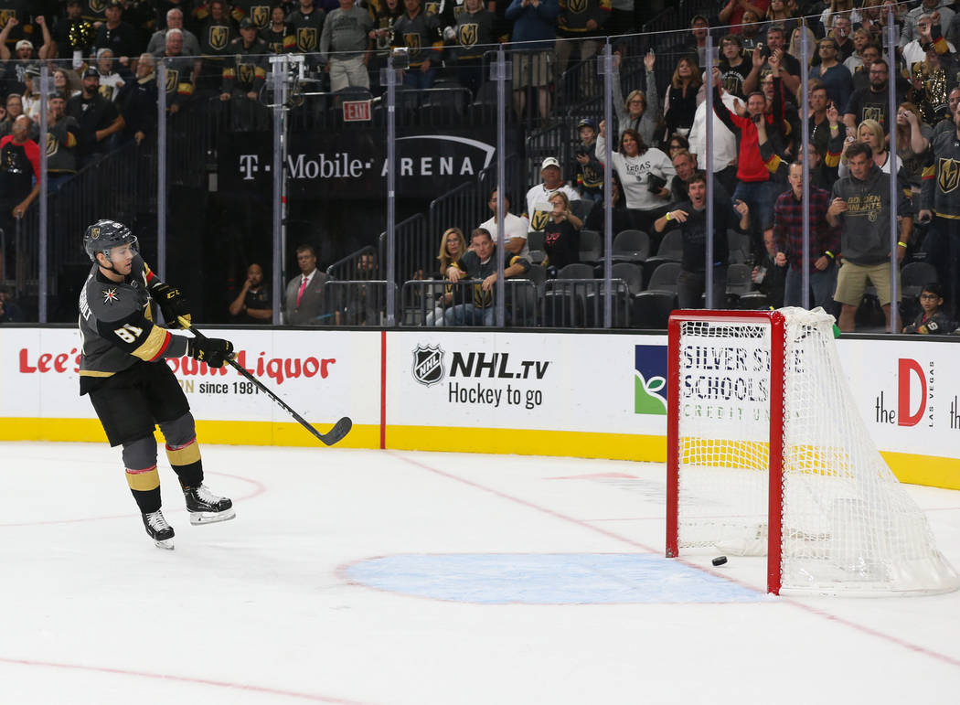 Vegas Golden Knights center Jonathan Marchessault (81) scores on an empty net during the third period of an NHL hockey game at T-Mobile Arena in Las Vegas, Saturday, Oct. 20, 2018. Caroline Brehma ...