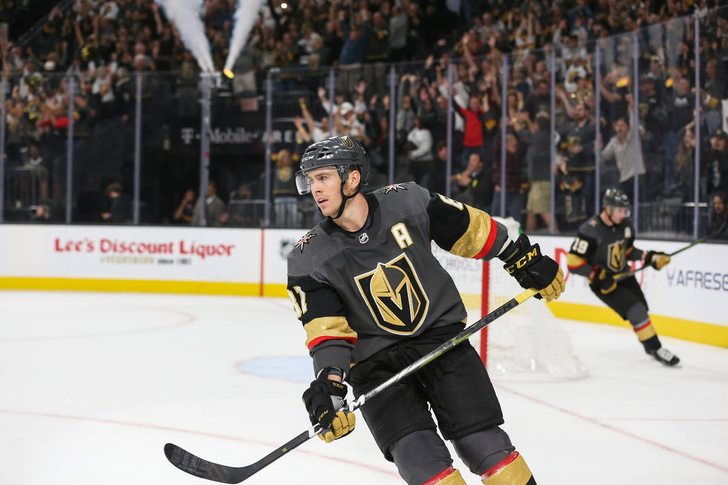 Vegas Golden Knights center Jonathan Marchessault (81) skates away from the net after scoring against the Anaheim Ducks during the third period of an NHL hockey game at T-Mobile Arena in Las Vegas ...