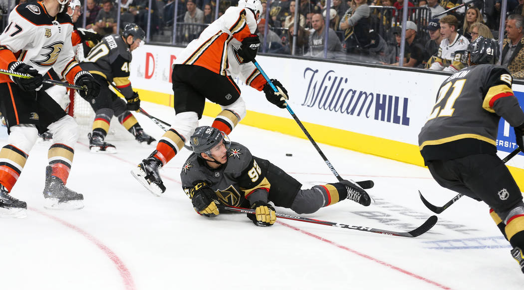 Vegas Golden Knights left wing Tomas Nosek (92) lands on the ice during a play during the third period of an NHL hockey game at T-Mobile Arena in Las Vegas, Saturday, Oct. 20, 2018. Caroline Brehm ...