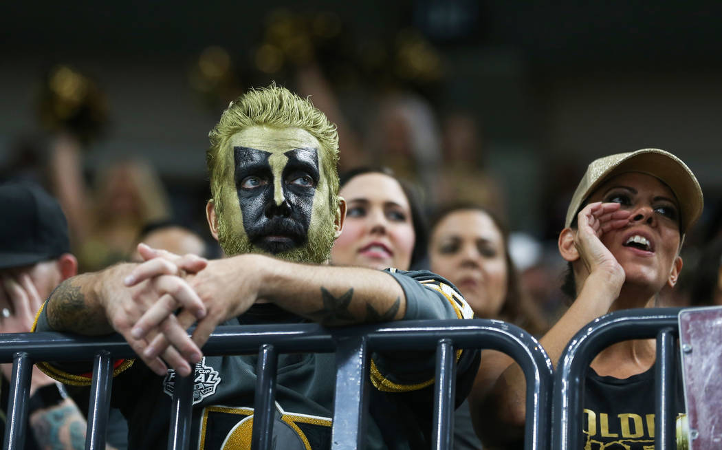 Vegas Golden Knights fans watch the game intently during the third period of an NHL hockey game at T-Mobile Arena in Las Vegas, Saturday, Oct. 20, 2018. Caroline Brehman/Las Vegas Review-Journal