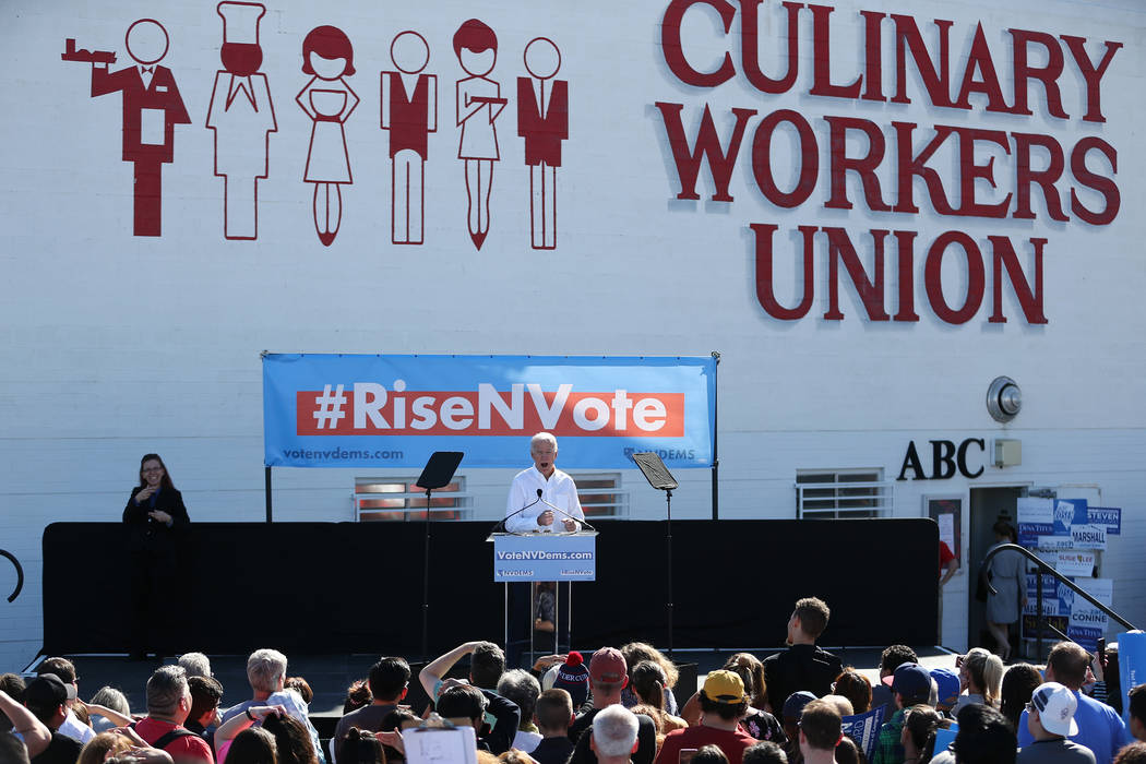 Former Vice President Joe Biden rallies the crowd during a Nevada State Democratic Party rally to promote voting at the Culinary Workers Union Local 226 headquarters in Las Vegas, Saturday, Oct. 2 ...