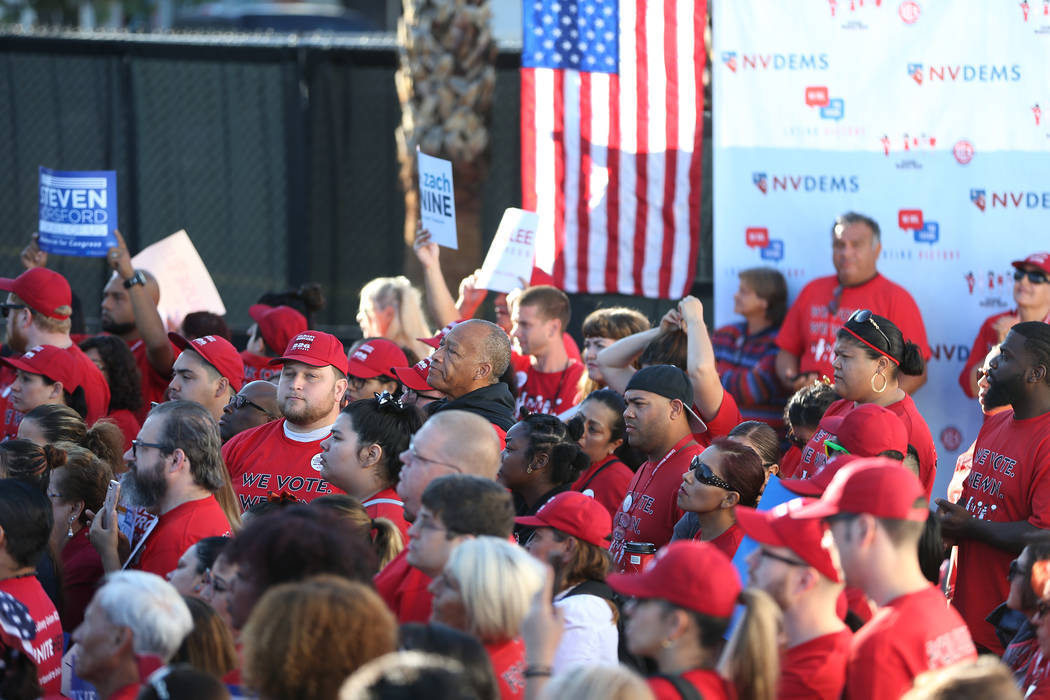People attend a Nevada State Democratic Party rally to promote voting at the Culinary Workers Union Local 226 headquarters in Las Vegas, Saturday, Oct. 20, 2018. Erik Verduzco Las Vegas Review-Jou ...