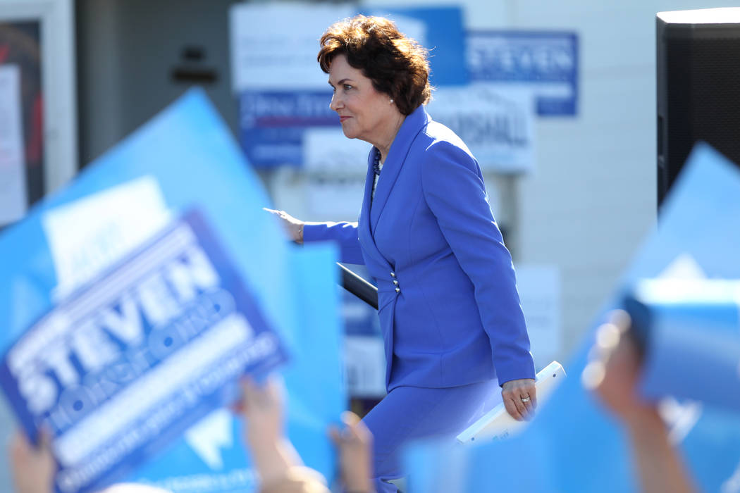 U.S. Rep. Jacky Rosen waits to take the stage during a Nevada State Democratic Party rally to promote voting at the Culinary Workers Union Local 226 headquarters in Las Vegas, Saturday, Oct. 20, 2 ...