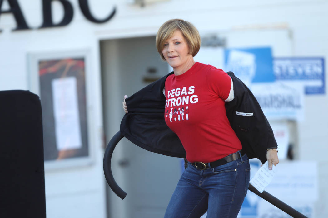 Democratic candidate for Congress Susie Lee takes the stage during a Nevada State Democratic Party rally to promote voting at the Culinary Workers Union Local 226 headquarters in Las Vegas, Saturd ...