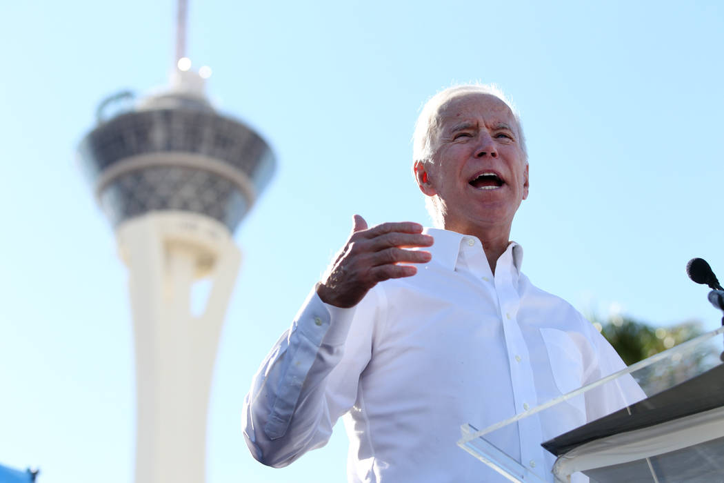 Former Vice President Joe Biden speaks to a crowd during a Nevada State Democratic Party rally to promote voting at the Culinary Workers Union Local 226 headquarters in Las Vegas, Saturday, Oct. 2 ...