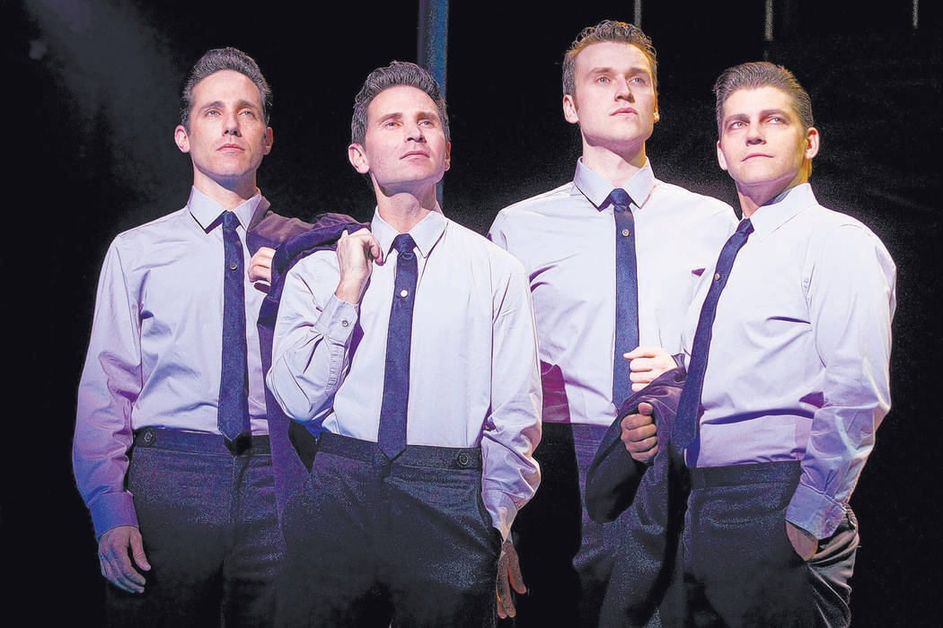 "Jeff Leibow, far left, is shown in his days with ""Jersey Boys"" along with Travis Cloer, Rob Marnell and Deven May at Paris Las Vegas. (Joan Marcus)"