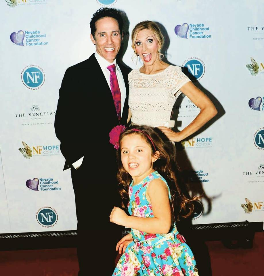 Jeff and Melody Leibow with their daughter, Emma, at the 2017 NF Hope Concert at Palazzo Theater. (Jeff Leibow)