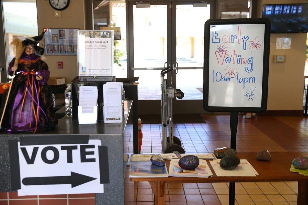 A sign directs people to the polling station at the East Las Vegas Community Center in Las Vegas, Saturday, Oct. 20, 2018. Erik Verduzco Las Vegas Review-Journal @Erik_Verduzco