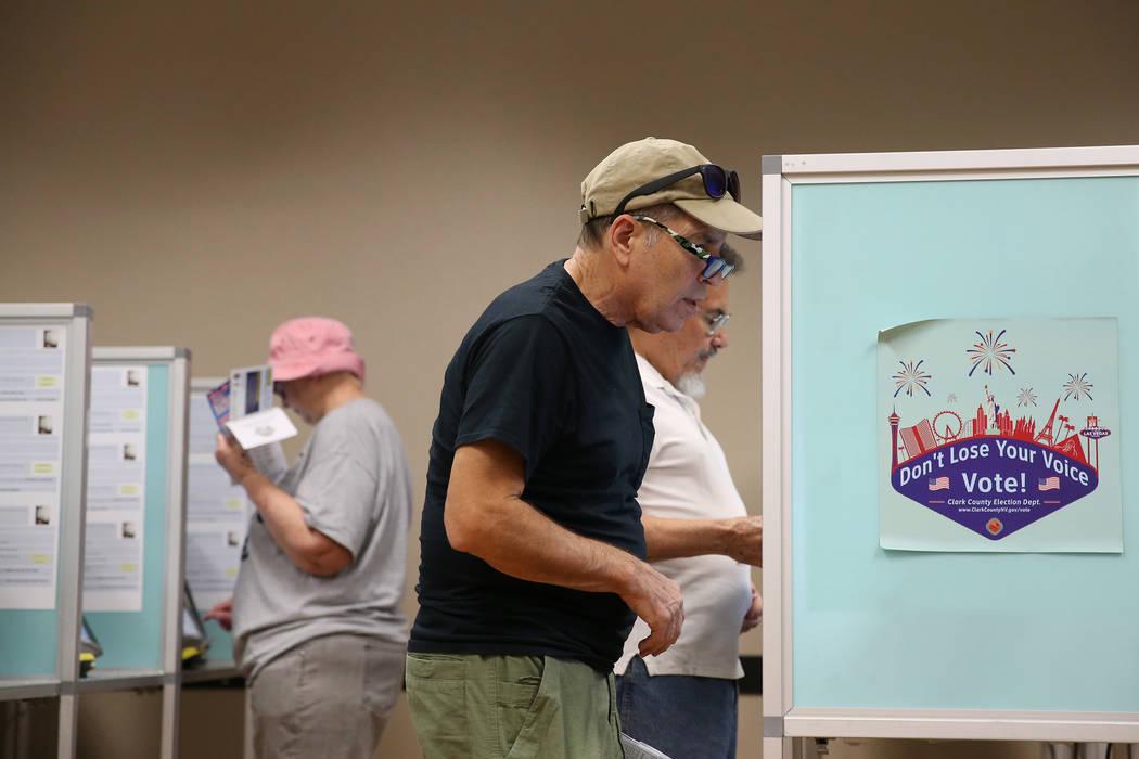 Andrew Swarzman of Las Vegas, center, votes at the East Las Vegas Community Center in Las Vegas, Saturday, Oct. 20, 2018. Erik Verduzco Las Vegas Review-Journal @Erik_Verduzco