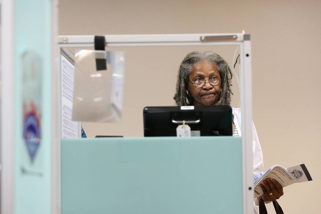 Gwendolyn Shepard of Las Vegas votes at the East Las Vegas Community Center in Las Vegas, Saturday, Oct. 20, 2018. Erik Verduzco Las Vegas Review-Journal @Erik_Verduzco