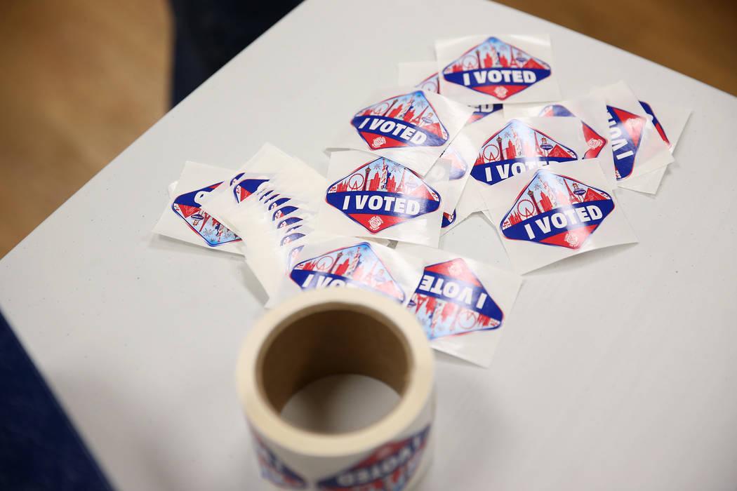 Stickers for voters at the East Las Vegas Community Center in Las Vegas, Saturday, Oct. 20, 2018. Erik Verduzco Las Vegas Review-Journal @Erik_Verduzco