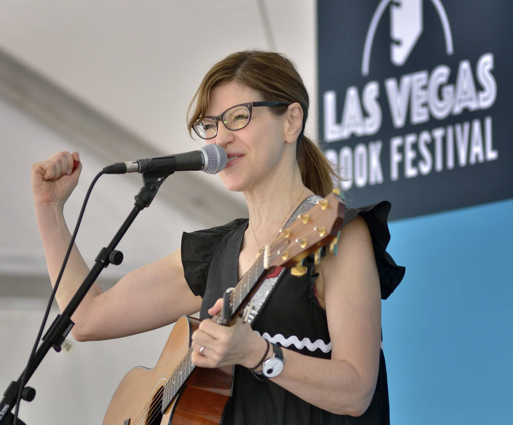 Singer-songwriter Lisa Loeb performs during the Las Vegas Book Festival at the Historic Fifth Street School at 401 S. 4th St. in Las Vegas on Saturday, Oct. 20, 2018. Bill Hughes/Las Vegas Review- ...