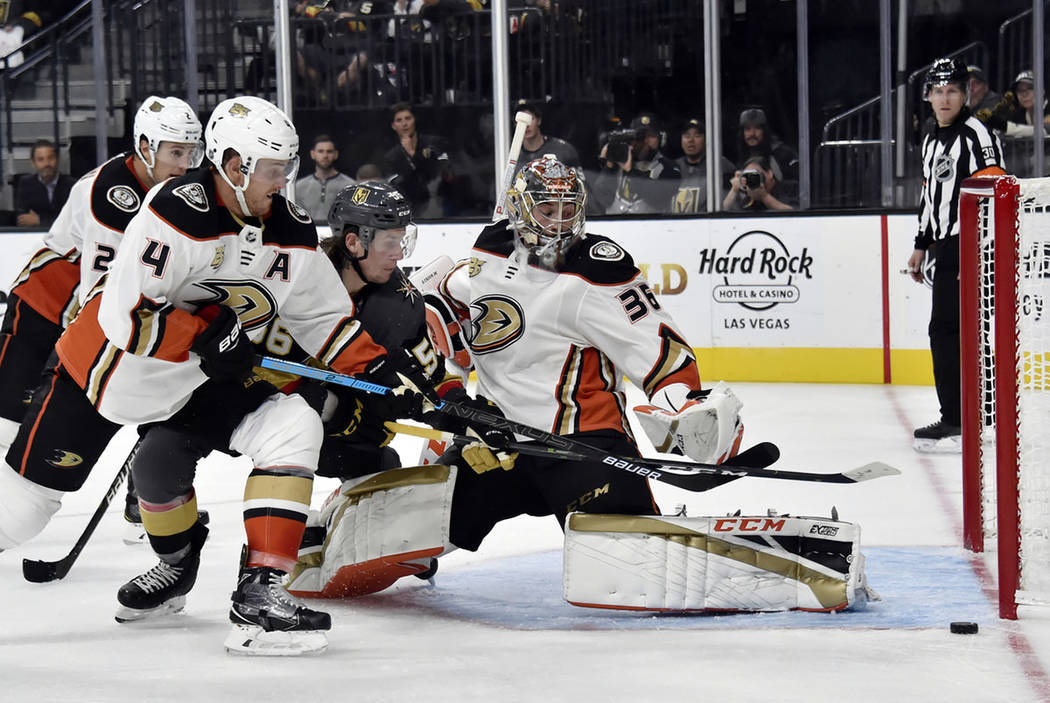 Vegas Golden Knights left wing Erik Haula (56) of Finland shoots against Anaheim Ducks goaltender John Gibson (36) during the second period of an NHL hockey game Saturday, Oct. 20, 2018, in Las Ve ...