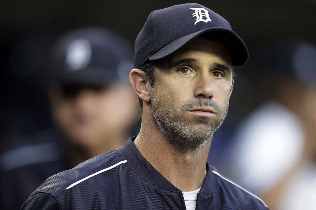 Detroit Tigers manager Brad Ausmus appears in the dugout before a baseball game against the Minnesota Twins, in Detroit on Sept. 22, 2017. Ausmus has been named the Los Angeles Angels' manager. ...