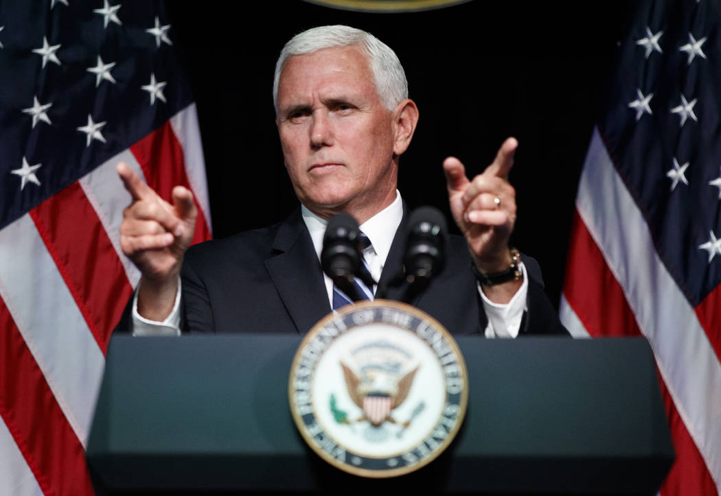 Vice President Mike Pence gestures during an event on the creation of a U. S. Space Force at the Pentagon on Aug. 9, 2018. With his demand that the Pentagon create a new military service — a Sp ...