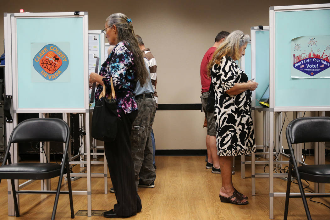 People vote early at the East Las Vegas Community Center in Las Vegas, Saturday, Oct. 20, 2018. Erik Verduzco Las Vegas Review-Journal @Erik_Verduzco