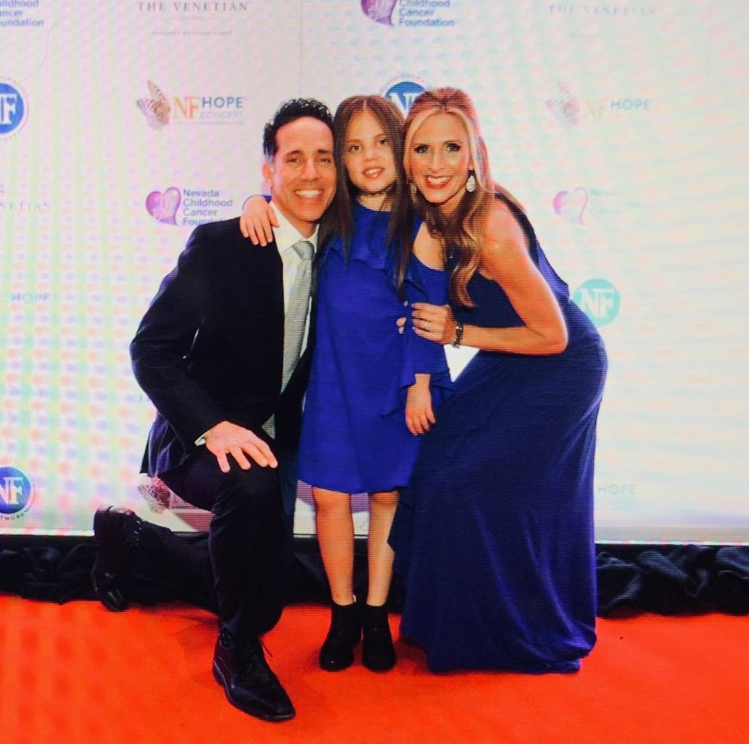 Jeff, Emma and Melody Leibow are shown on the red carpet before the eighth annual NF Hope Concert at Palazzo Theater on Sunday, Oct. 21, 2018. (Denise Truscell)