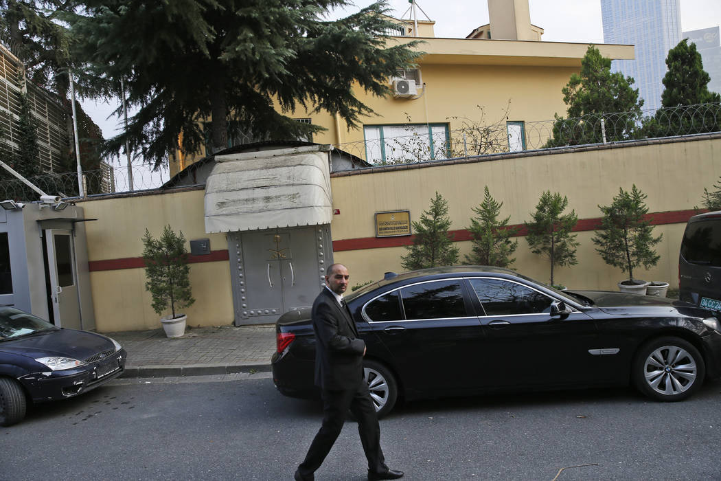 A security guard patrols outside Saudi Arabia's consulate in Istanbul, Sunday, Oct. 21, 2018. The chairman of the Senate Foreign Relations Committee says Saudi Arabia's Crown Prince Mohammed bin S ...