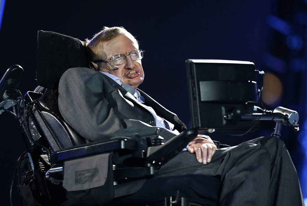 British physicist Professor Stephen Hawking speaks during the Opening Ceremony for the 2012 Paralympics in London, Wednesday Aug. 29, 2012. (AP Photo/Matt Dunham, file)