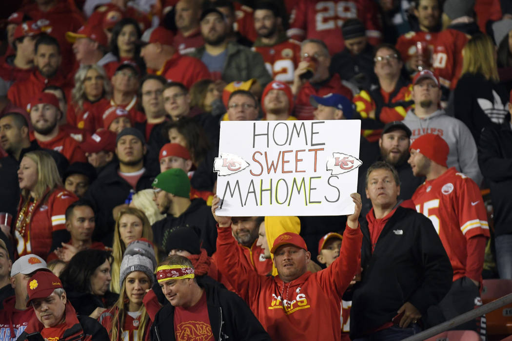 """Kansas City Chiefs fans hold a sign reading """"Home Sweet Mahomes"""" during the second half of an NFL football game against the Cincinnati Bengals in Kansas City, Mo., Sunday, Oct. 21, 2018. ..."""