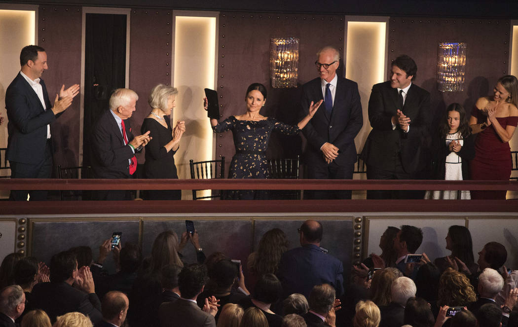 Julia Louis-Dreyfus is honored with the Mark Twain Prize for American Humor at the Kennedy Center for the Performing Arts on Sunday, Oct. 21, 2018, in Washington, D.C. (Photo by Owen Sweeney/Invis ...