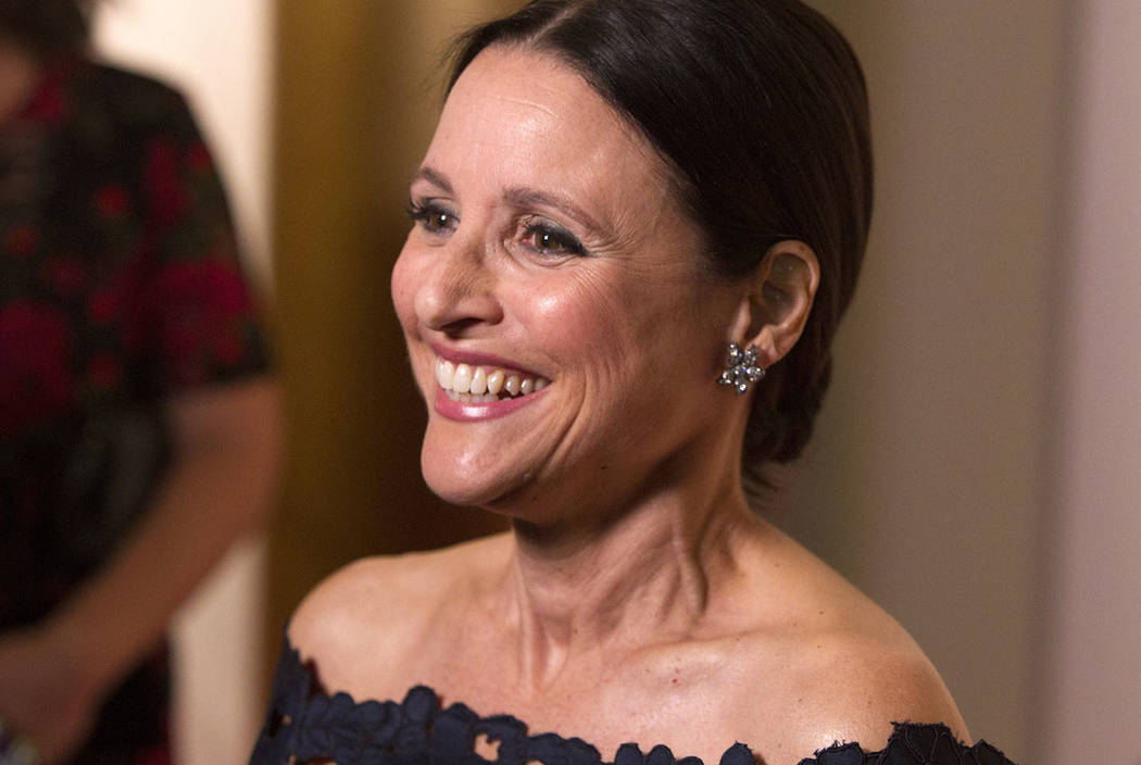 Julia Louis-Dreyfus arrives at the Kennedy Center for the Performing Arts for the 21st Annual Mark Twain Prize for American Humor presented to Julia Louis-Dreyfus on Sunday, Oct. 21, 2018, in Wash ...
