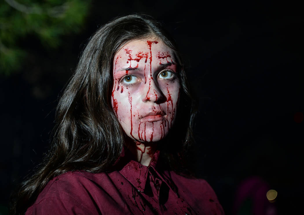 Isabella Medrano in costume stares off at the crowds gathered at Opportunity Village's Magical Forest in Las Vegas, Sunday, Oct. 21, 2018. Caroline Brehman/Las Vegas Review-Journal