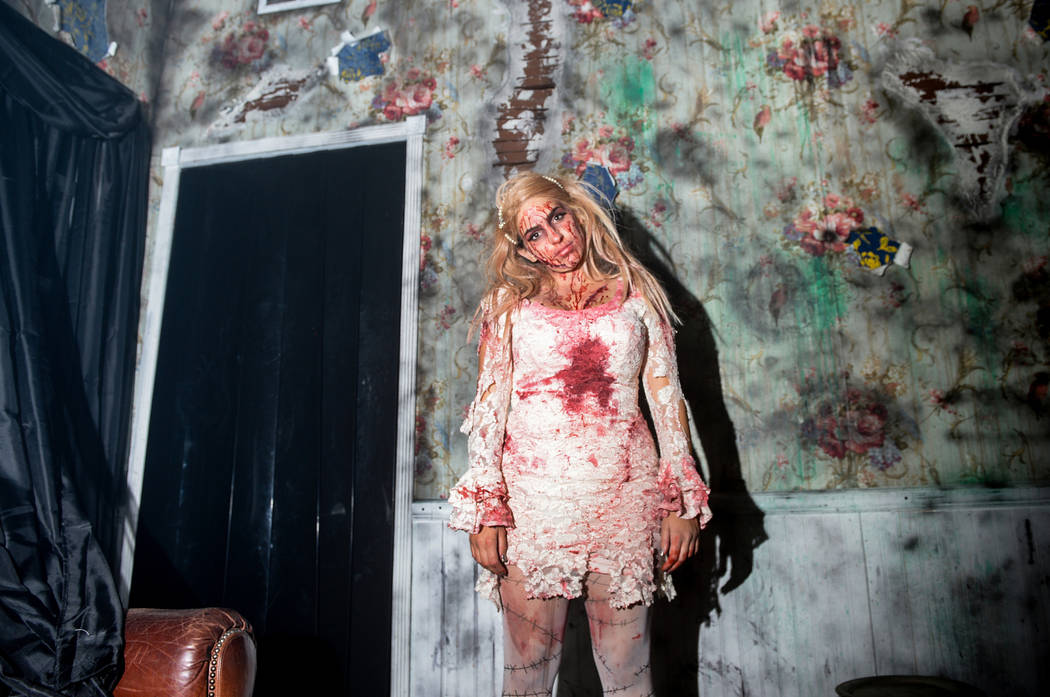 An actor poses for a photograph at Vegas Freight Nights' haunted house at Opportunity Village's Magical Forest in Las Vegas, Sunday, Oct. 21, 2018. Caroline Brehman/Las Vegas Review-Journal
