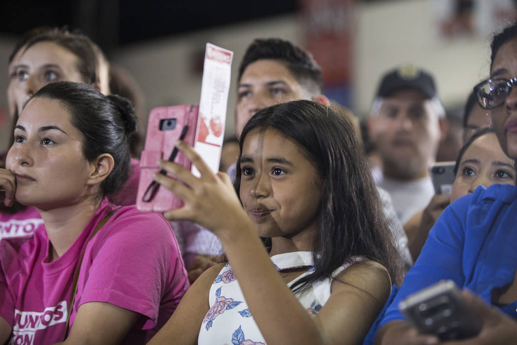 Attendees listen to former President Barack Obama speak during a rally at Cox Pavilion on Monday, Oct. 22, 2018, in Las Vegas. Benjamin Hager Las Vegas Review-Journal