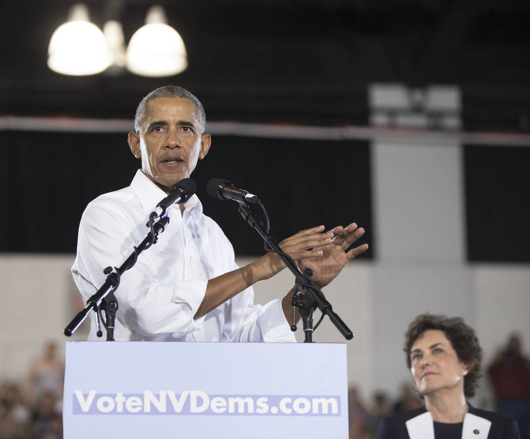 Former President Barack Obama speaks during a rally at Cox Pavilion on Monday, Oct. 22, 2018, in Las Vegas. Benjamin Hager Las Vegas Review-Journal