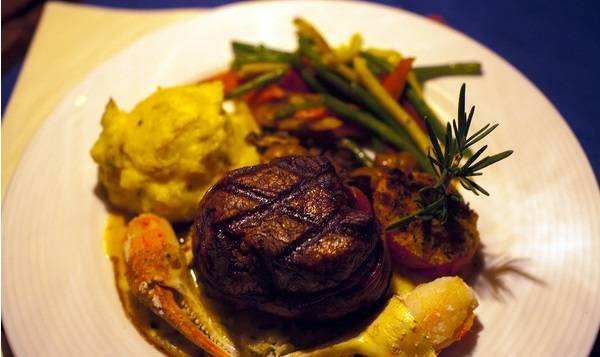 A steak and crab entree at Hugo's Cellar in the Four Queens. (Courtesy)