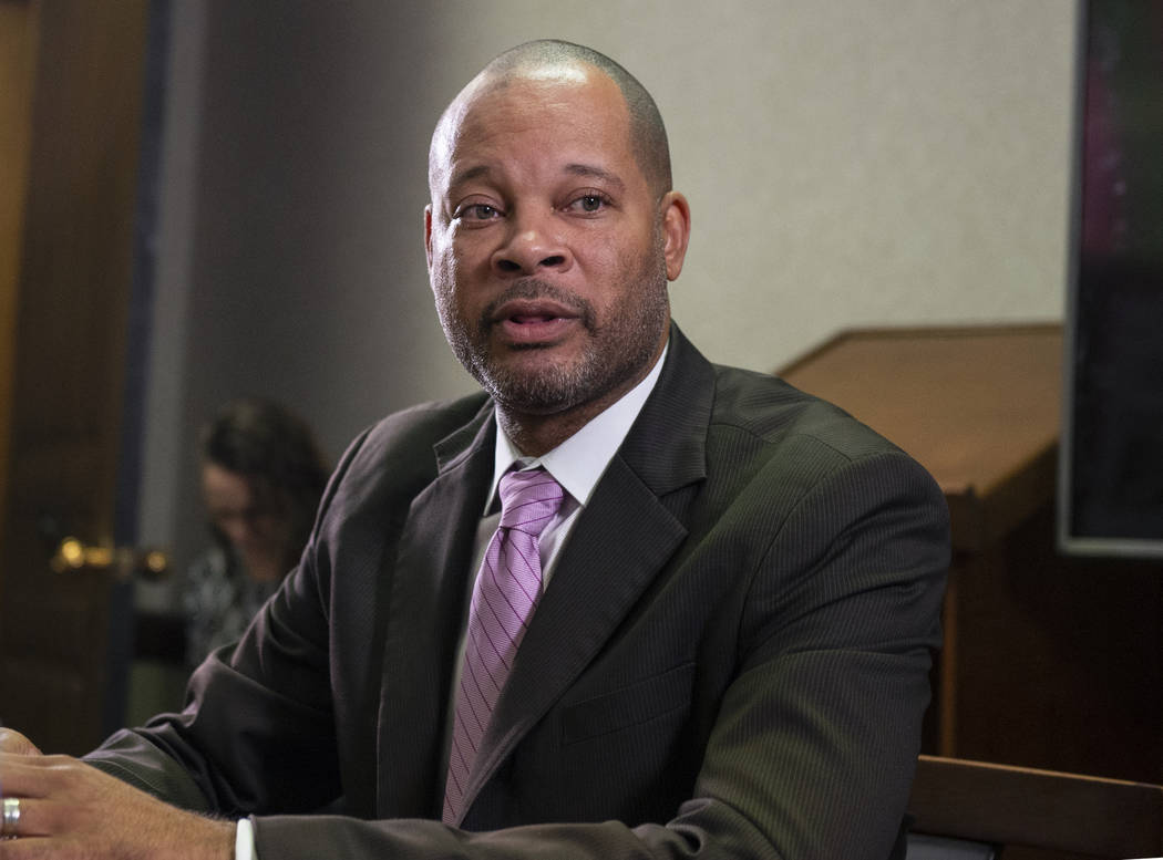 Aaron Ford speaks to the Review-JournalÕs reader panel about his platform going into the 2018 midterm elections in Las Vegas, Tuesday, Oct. 16, 2018. Caroline Brehman/Las Vegas Review-Journal ...