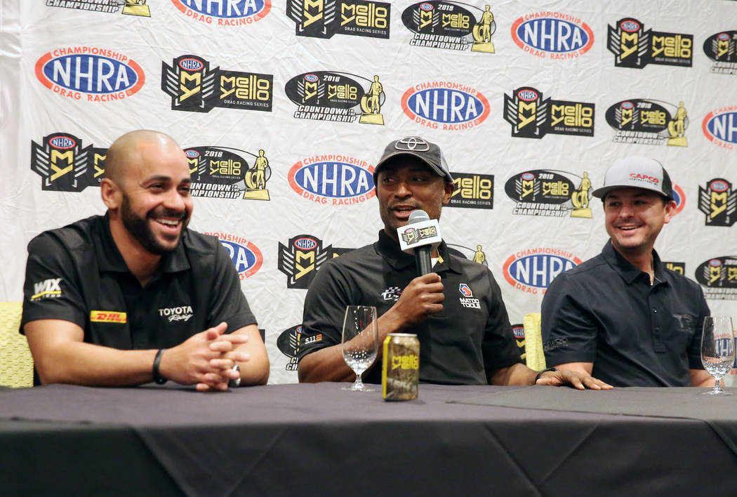 Top Fuel driver Antron Brown, second left, speaks as drivers J.R. Todd, left, and Steve Torrence look on during media day on Thursday, Oct. 25, 2018, in Las Vegas. Bizuayehu Tesfaye/Las Vegas Revi ...
