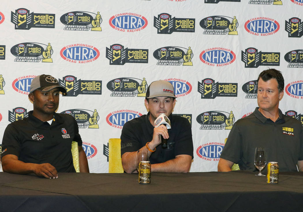 Top Fuel driver Steve Torrence speaks as Antron Brown, left, and Jeg Coughlin Jr. look on during media day on Thursday, Oct. 25, 2018, in Las Vegas. Bizuayehu Tesfaye/Las Vegas Review-Journal @biz ...