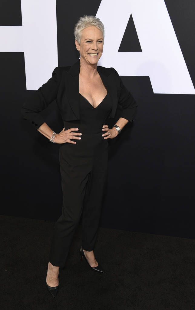 """Jamie Lee Curtis, star of """"Halloween,"""" poses at the premiere of the film at the TCL Chinese Theatre, Wednesday, Oct. 17, 2018, in Los Angeles. (Photo by Chris Pizzello/Invision/AP)"""