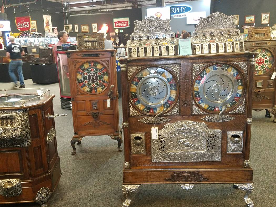 A 1904 50-cent Caille Bros. Big Six Double Upright Slot Machine was sold for $80,000 at auction by Dan Morphy of Morphy Auctions at a two-day coin-op and advertising auction in Las Vegas on Saturd ...