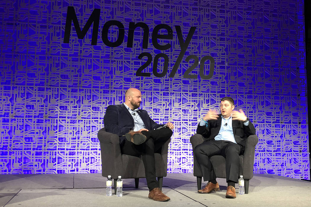 Forter Co-founder Michael Reitblat (right) speaking at Money 20/20 show on Monday Oct. 22, 2018 in Las Vegas at The Venetian. Todd Prince/Las Vegas Review-Journal
