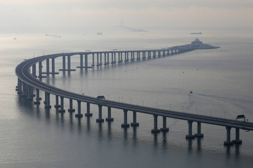 The Hong Kong-Zhuhai-Macau Bridge is seen in Hong Kong, Monday, Oct. 22, 2018. The bridge, the world's longest cross-sea project, which has a total length of 55 kilometers (34 miles), will have op ...
