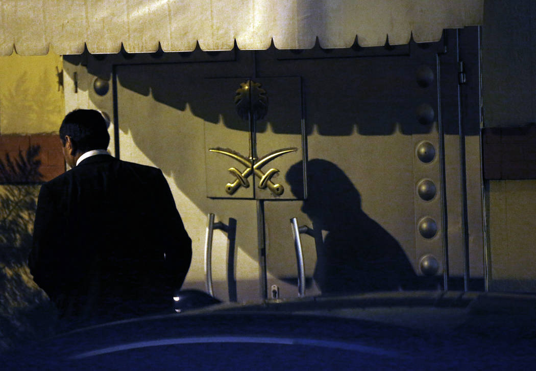 A man leaves Saudi Arabia's consulate in Istanbul, Friday, Oct. 19, 2018. A Turkish official said Friday that investigators are looking into the possibility that missing Saudi journalist Jamal Kh ...